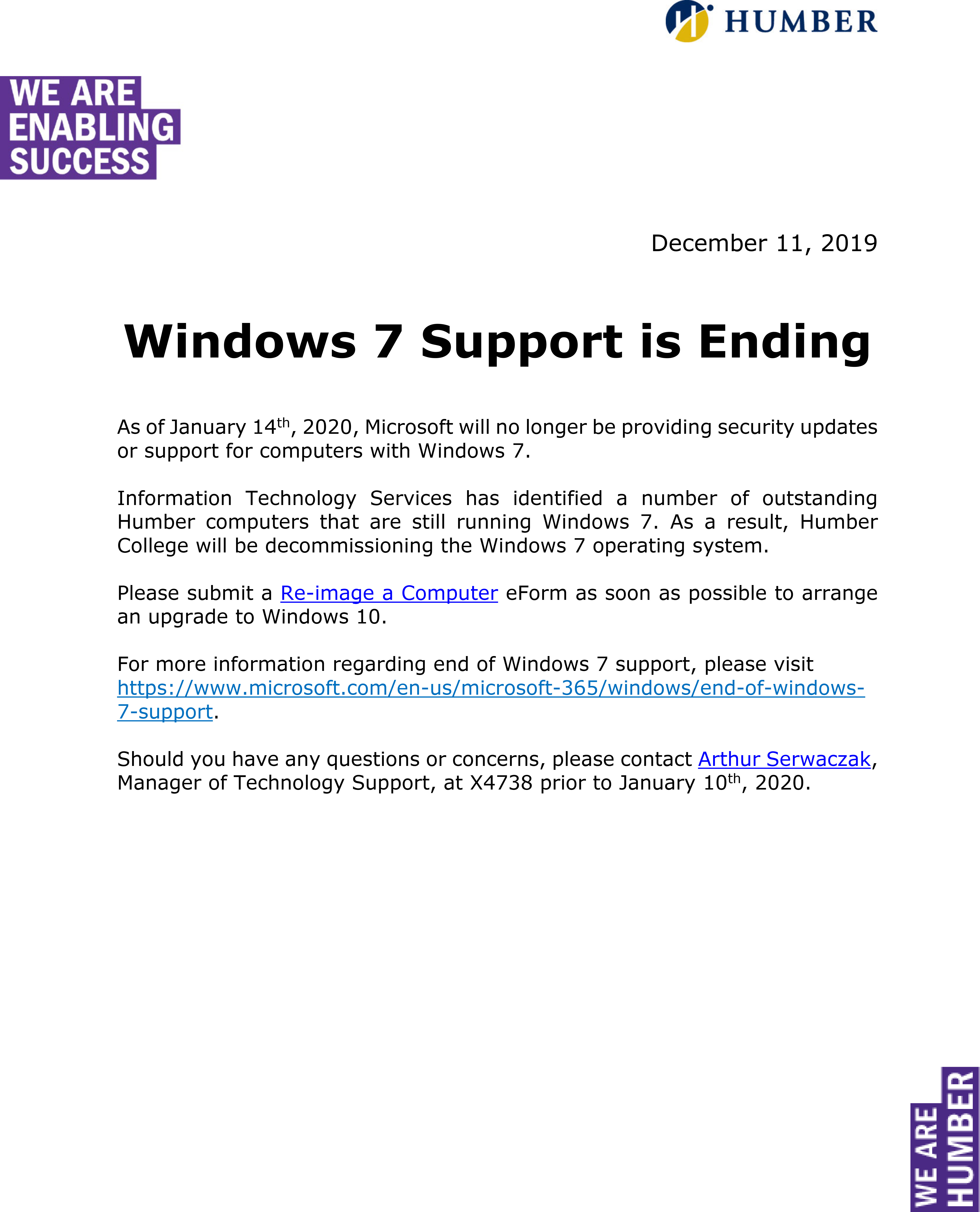 Windows 7 Support is Ending